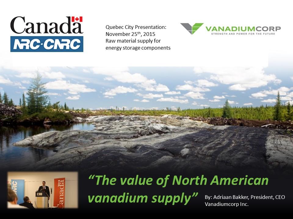 VanadiumCorp Inc. The value of North American vanadium production